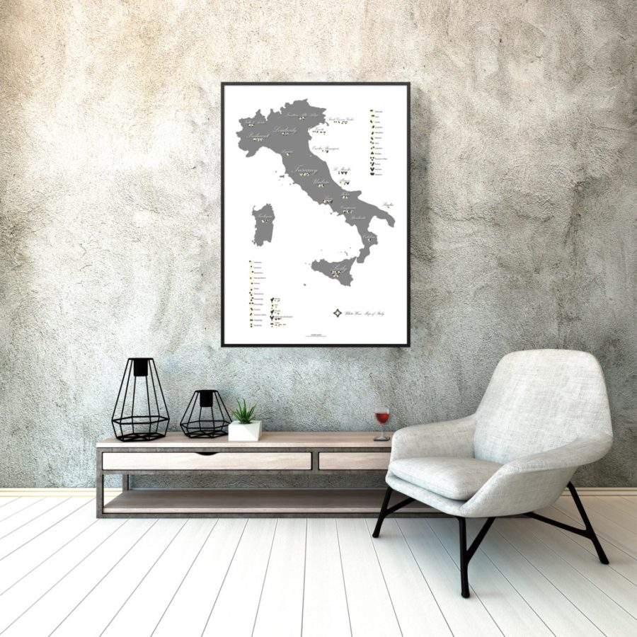 White wine map of Italy