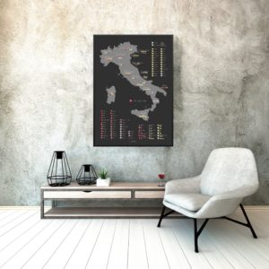 Vintage wine map Italy