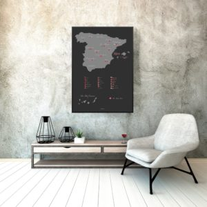 Red wine map of Spain